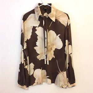 💕Escada 100% Silk Blouse Floral Print/Front Tie